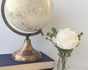 gold globe white globe mid sized brass base with a off white sphere - Decorative Globe