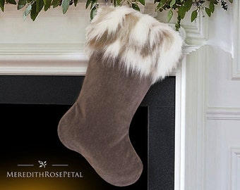Fur Christmas Stocking, Fur Stocking, Faux Fur Christmas Stocking, Faux Fur Stocking