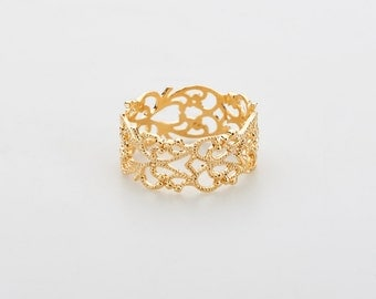 Gold lace ring, romantic ring, Gold Filled Ring, Gold  Ring, bridal gift, anniversary gift, under 30