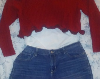 Crop, top,14,16,2,piece,1x,outfit,dress,upcycled,lagenlook,boho,jean,skirt,dress,xl,xxl,plus,womens