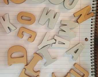 Alphabet magnets, fridge magnets, alphabet fridge magnets, upcycled magnets, refridgerator magnets, gold magnets, silver magnets, kitchen