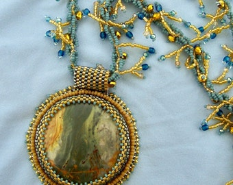 Funky Blue Jasper Bead Embroidery
