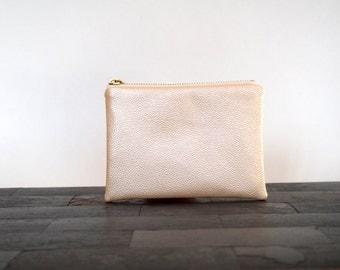 Faux leather peach salmon pearl zipper pouch, pebble texture, mini makeup bag, zipper pouch, summer clutch, pouch, de almeida designs