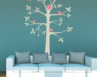 Removable Wall Stickers - Grey Tree with Pink Birds - AW8454