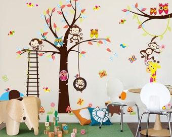 Removable Wall Stickers - Monkeys, Tree, Elephant & Giraffe - AW1213
