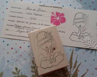 "Buffer rubber engraved ""Nana Tropicale"" handmade / Tropical Girl handcarved rubberstamp"