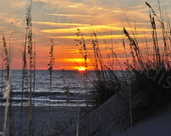 Beach Sunset Photo // Sunset on Beach Photography Print // Florida Sunset Photo