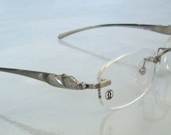 PANTHERE Eyeglass Frame Silver Rimless Glasses. For Men & Women. Clear Lens, for your PX.