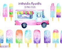 Hand painted watercolor popsicles and popsicle van printable instant download, watercolor clipart, ice lollies, ice cream van