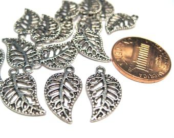 50pcs Antique Silver Filigree Leaf Charms Pendants 17mm