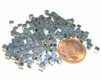 1 Strand Silver Hematite Cube Beads 3mm Non-Magnetic