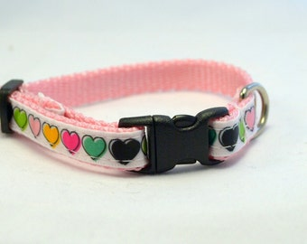 Pink Rainbow Hearts Breakaway Cat Collar