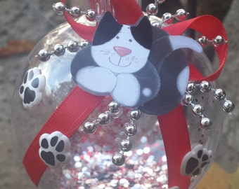 Cat Christmas Ornament - Red & Silver