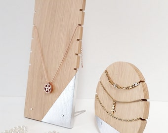 Necklace Display Set For Craftshow Etalage Oak - Silver Version Wood Display