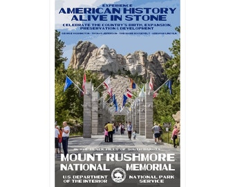 """Mount Rushmore National Memorial WPA-style poster. Color. 13"""" x 19""""  Original artwork, signed by the artist!"""