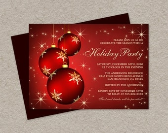 DIY Printable Holiday Party Invitations, Elegant Christmas Party Invitation With Three Hanging Red Ornaments