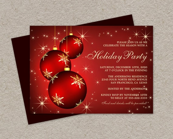 DIY Printable Holiday Party Invitations Elegant Christmas