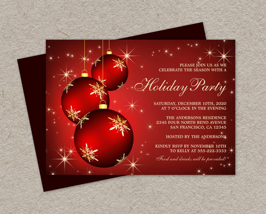 DIY Printable Holiday Party Invitations Elegant Christmas – Diy Christmas Party Invitations