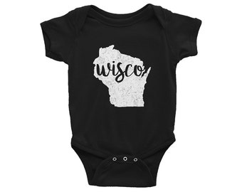 Wisconsin One-Piece // Wisco Bodysuit // Badgers Baby Outfit // Badgers // UW Madison // The Busy Bee