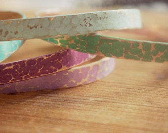 """Hand Crafted, Hammered and Hand Painted 1/4"""" Cuff Bracelet, Layering Bracelet, Stacking Bangle, Stackable Cuff, Colorful Summer Jewelry"""