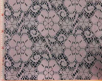 """Light Pink Big Flower Lace Fabric Polyester 58-60"""""""