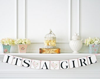 Its a Girl Banner, Baby Shower Decorations, Vintage Shabby Chic Baby Shower Banner