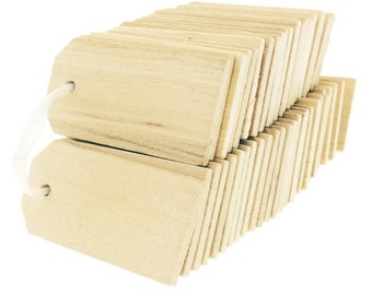 100 Count Blank Wooden Gift Tags for Wine, Decor Or Weddings, Blank Wooden Tags For Wedding Gifts Or Add Style To Gift Or Table Settings