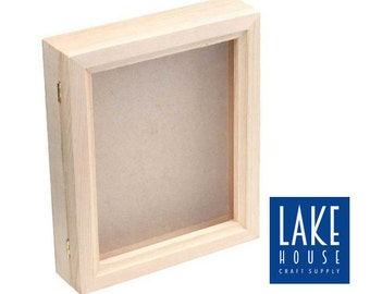 Bare Wood Shadow Box With Hinged Glass Top. Plain Wood Shadowbox With Hinged  Glass Top