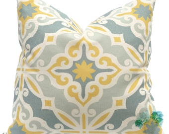 Yellow Pillow Cover - Premier Prints Harford Saffron Macon - Geometric Pillow Cover - Made to Order in Over 20 Sizes with Invisible Zipper