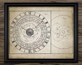 Vintage Astronomical Clock - Astrology Clock Print - Science Illustration - Printable Art - Single Print #521 - INSTANT DOWNLOAD