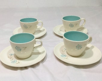 Taylor Smith Taylor BOUTONNIERE Ever Yours 4 Cup & Saucer Sets