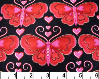Red/ Pink Butterflies on Black - Fabric Traditions - Yardage