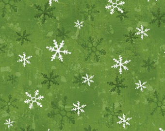 Home For The Holidays - Snowflakes Green (462225940-GRE) Red Rooster Cotton Fabric Yardage