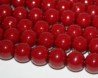 Cherry Red Glass Pearls 12mm - 34ct - D047