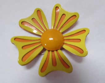 LAST CALL! Flower Power Pin Enamel Brooch Orange Flower Pin Yellow Flower Pin Mod Style Pin
