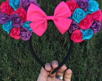 Minnie mouse, Mickey mouse, floral ears, disney ears, mouse ears