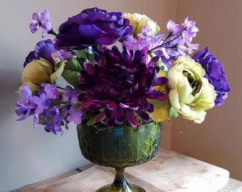 Purple & Green Flower Arrangement, Ranunculus Arrangement, Purple Lilac Floral, Mum, Faux Flower Arrangement, Silk Floral, Lime Green Vase,
