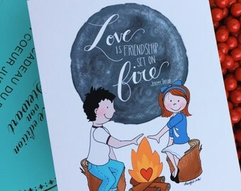 Friendship on Fire Romantic Card