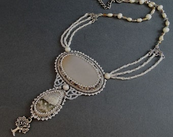 Winter Necklace//Agate//Jasper//Pearl//Pendant//Light Gray//White//Free Shipping