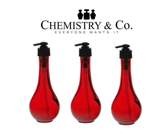 2 8 Oz Red Glass Curvy Lotion Pump Bottles Soap By