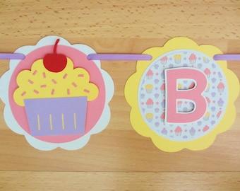 Cupcake Birthday Party Shower Banner Sign Garland Pink Purple Yellow