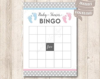 Gender Neutral Baby Shower Bingo Game Card, Pink and Blue Baby Shower Party Games Printable, INSTANT DOWNLOAD