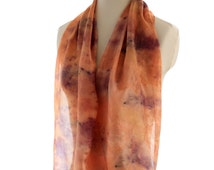 Peach pink silk scarf, black and purple eco print, naturally dyed scarf, madder dyed, eco elderberries print , autumn leaves and rusty nails