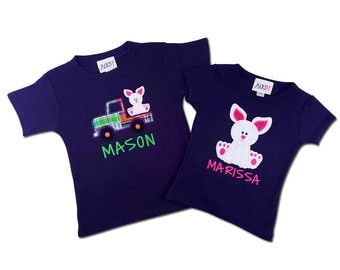 Brother Sister Sibling Easter Bunny Shirts with Embroidered Name - M2