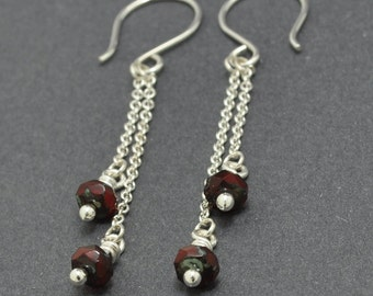 Sterling Silver Garnet Earrings, Silver Chain Earrings, Red Earrings, Czech glass earrings