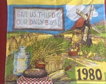 Vintage 1972 Linen Waterwheel Calendar tea dish towl