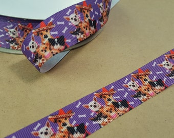 Party dogs  printed grosgrain ribbon for hair bows, scrapbooking, other crafts - sold in 1, 3, or 5 yard lengths - M1814