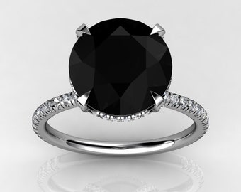 Black Moissanite Engagement Ring .28ct Natural Diamonds Wedding Ring 10mm Round Black Moissanite Ring 18k White Gold  Pristine Custom Rings