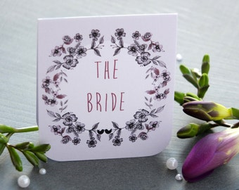 Floral Garland Wedding Place Name Card