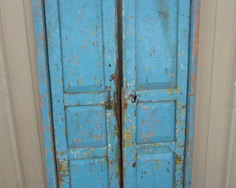 Antique Pair Mexican Pine Old Doors-Primitive-Rustic-32x71-Headboard-Gorgeous--Weathered Patina-Barn Doors